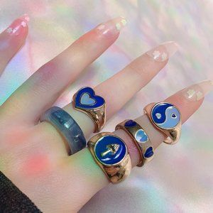🤍 Blue y2k Ring Set